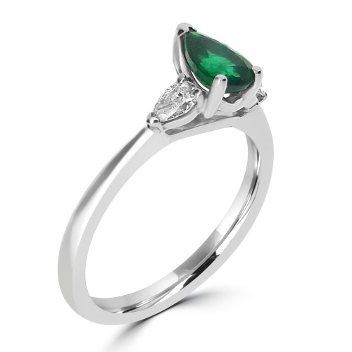 Emerald Pear Shape with Diamond Pear Shapes 3 Stone Ring