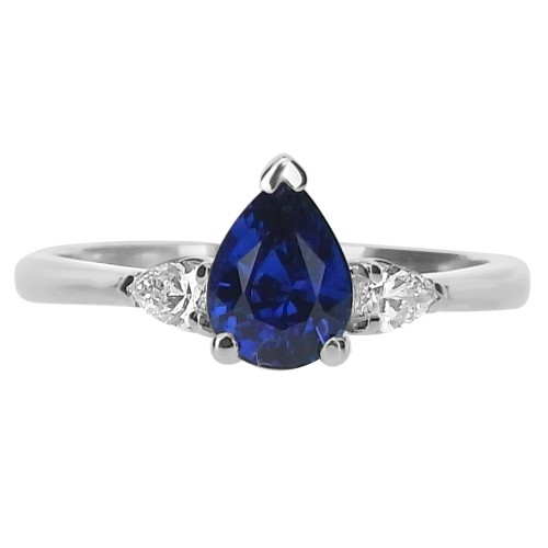 Sapphire Pear with Diamond Pears 3 Stone Ring