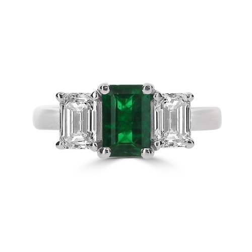 Emerald Octagon & Diamond Octagons 3 Stone Ring