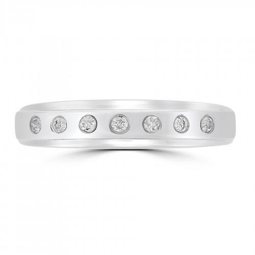18WG RBC 0.10ct Roman Set Half Eternity Ring