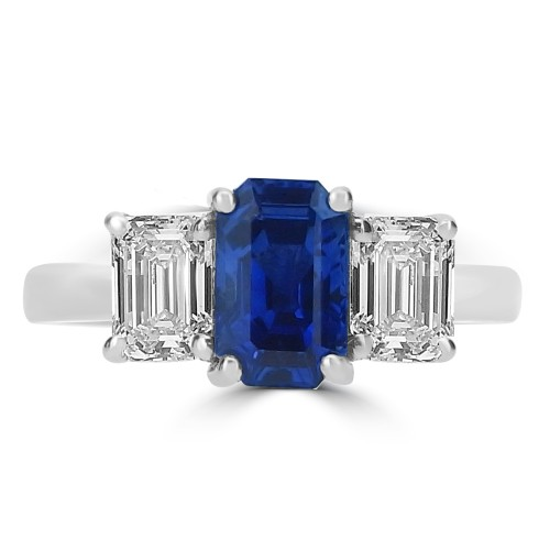 Sapphire & Diamond Emerald Cuts 3 Stone Ring