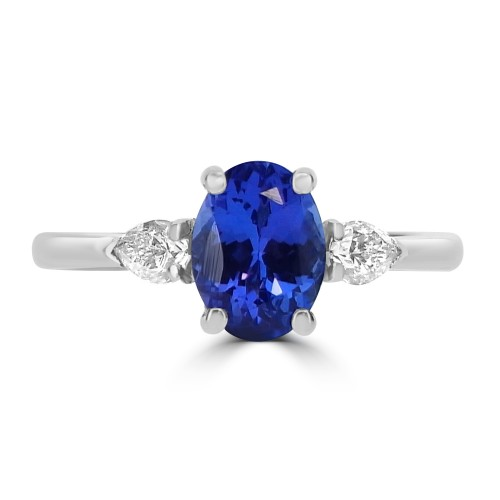Tanzanite Oval with Diamond Pear Shapes Ring