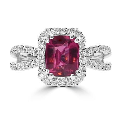 Red Spinel Cushion with Diamond Halo & Split Shoulders Ring