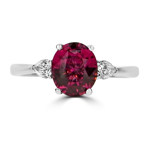 Red Spinel Oval with Diamond Pear Shapes 3 Stone Ring