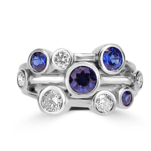 Diamond & Sapphire Bubble Ring