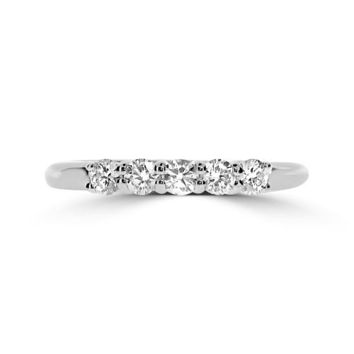 18W RBC 0.51ct Shared Claw 5 Stone Ring