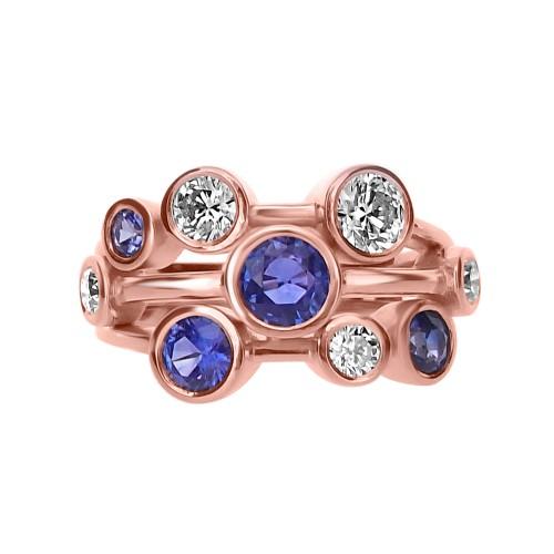Diamond & Sapphire Bubble RG Ring