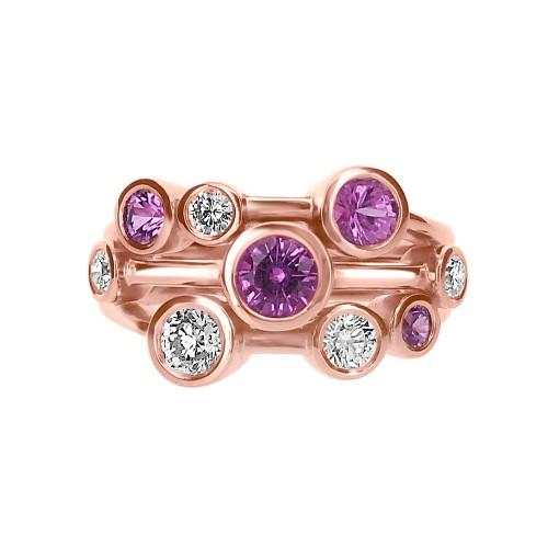Diamond & Pink Sapphire Bubble RG Ring