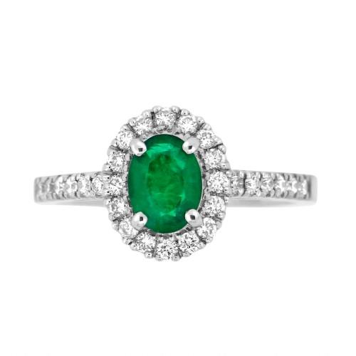 Emerald Oval with Diamond Halo Ring