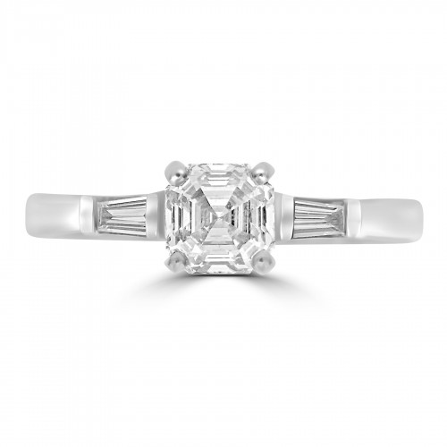 18W Asscher Cut 0.71ct With Tapered Baguettes 0.11ct Three Stone Ring