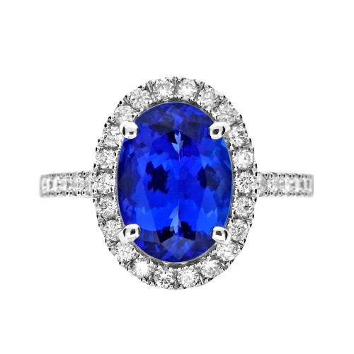 Tanzanite Oval with Diamond Surround Ring