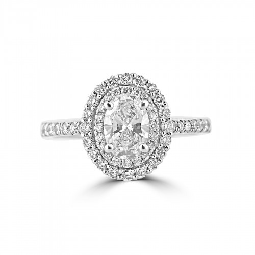 Diamond Double Halo & Shoulder Oval 0.73ct Centre Ring
