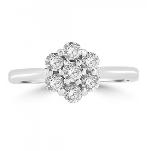 18WG RBC 0.57ct Daisy Cluster Ring