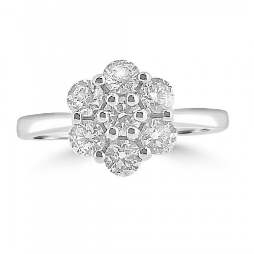 18WG RBC 1.00ct Daisy Cluster Ring