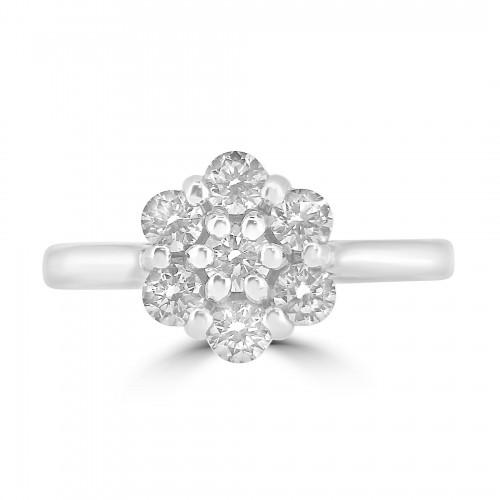 18WG RBC 0.72ct Daisy Cluster Ring