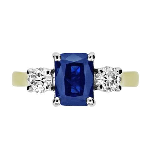 Sapphire & Diamond YWG 3 Stone Ring