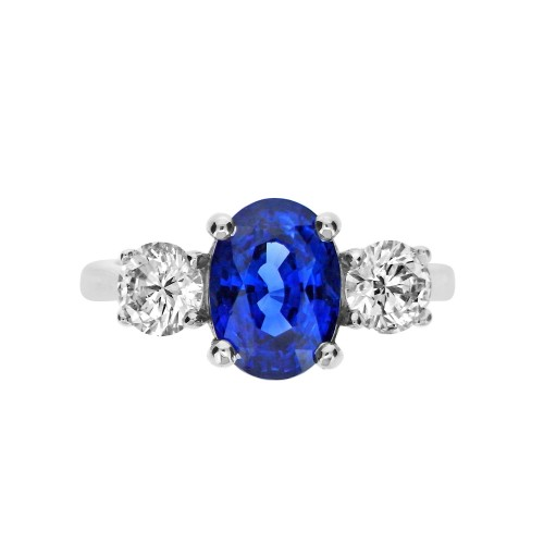 Sapphire Oval with Diamond RBC 3 Stone Ring