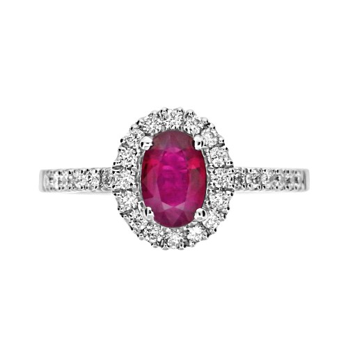 Ruby Oval with Diamond Halo Surround Ring