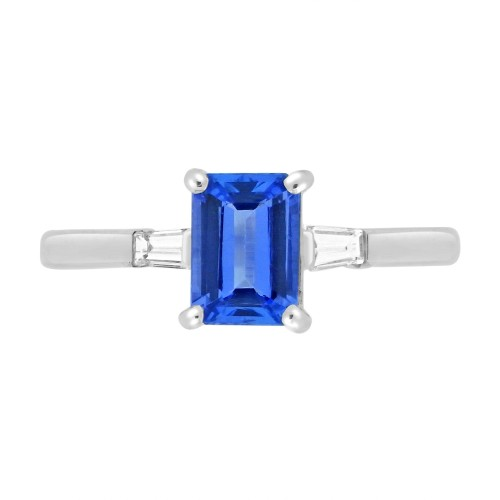 Tanzanite Emerald Cut with Diamond Baguettes Ring