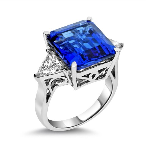 Tanzanite Sq. Emerald Cut with Diamond Trilliants Ring