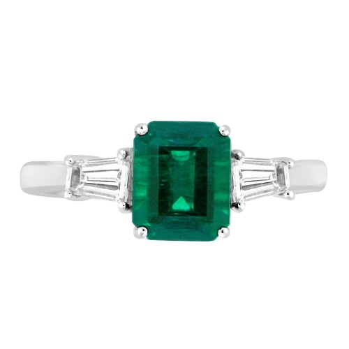 Emerald Octagon & Diamond Baguettes 3 Stone Ring