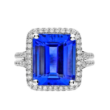 Tanzanite Emerald Cut with Diamond Surround Ring