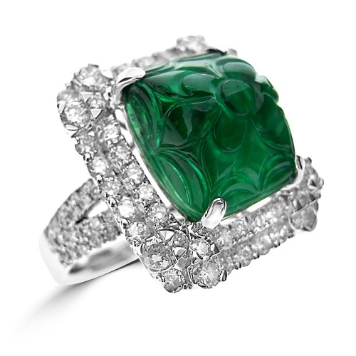 Emerald with Diamond Fancy Halo Surround Ring