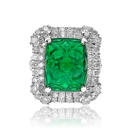 Emerald Carved Flower Design 8.81ct W/ 100x RBC Double Surround, Corner Detail And Top Shank Ring