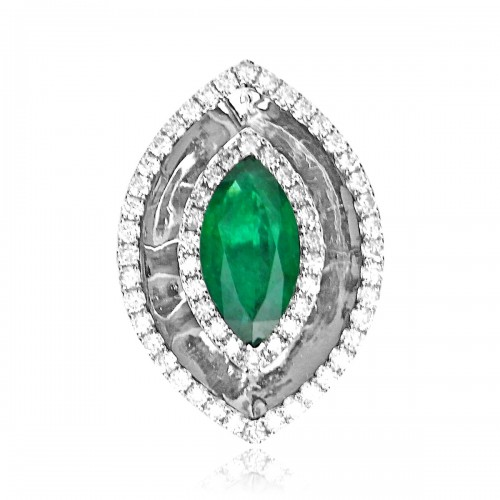 Emerald Marquise 2.96ct 2 Claw Set w/ 2 Row 62x RBC Surround & 26x RBC On Shoulders Ring