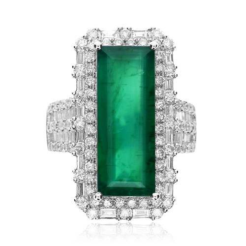 Emerald Elongated Rectangle 7.39ct With 2 Row Fancy Surround & 5 Row On Shoulders 92xRBC & 49xBag