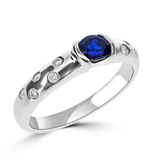 Sapphire Oval with Diamond RBC Scattered Shank Ring