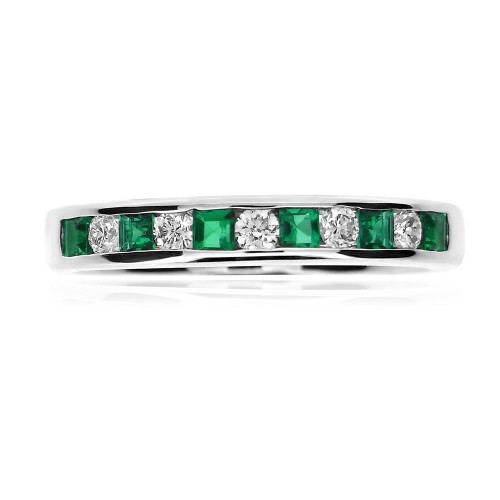 Emerald Square & Diamond RBC Eternity Ring