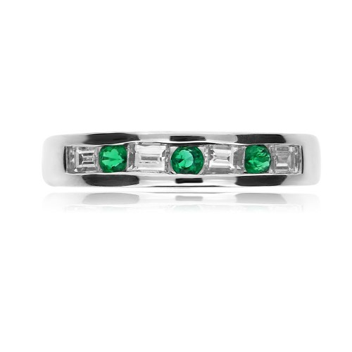 Emerald Rounds & Diamond Baguettes Eternity Ring