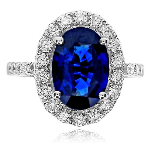 Sapphire Oval with Diamond RBC Halo Surround Ring