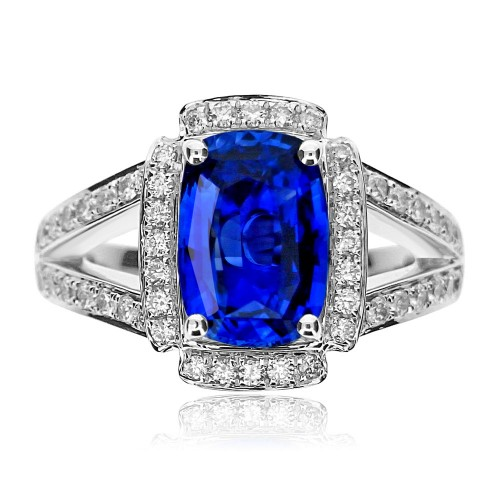 Sapphire Cushion with Diamond Halo Surround Ring