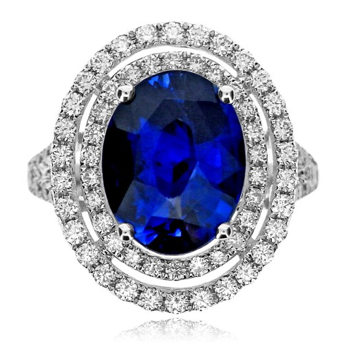 Sapphire Oval with Diamond Double Halo Surround Ring