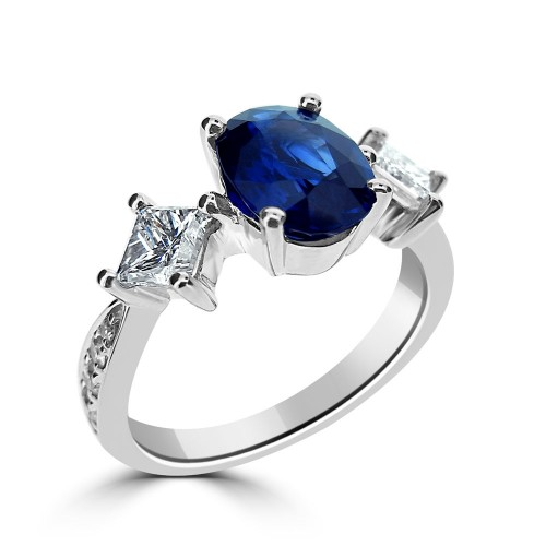 Sapphire Oval with Diamond Princess Cuts & RBC 3 Stone Ring